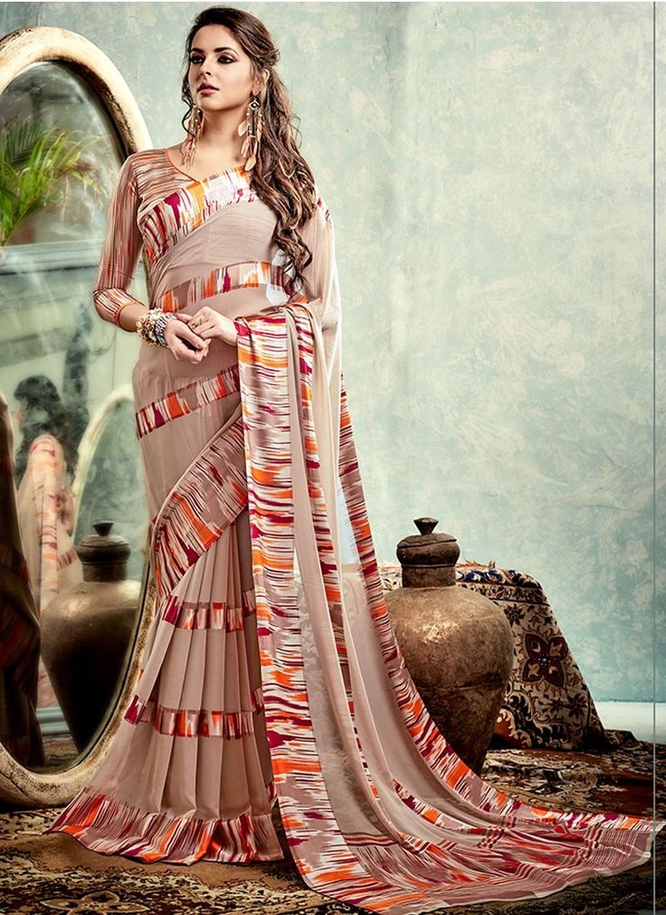 Shop Multi Colour Weightless Satin #CasualSaree Online