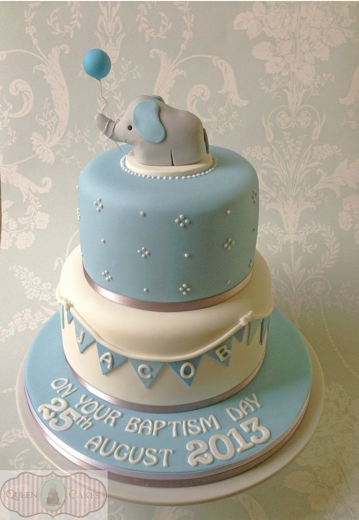 Cute baby boy baptism cake with sugarpaste elephant figure and bunting (original design by Cake Avenue) www.queenofcakes.org.uk
