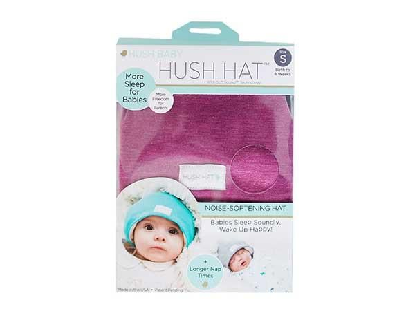 The HUSH Hat™ is a sound absorbing hat for infants - made to soften the harsh sounds that wake sleeping babies. Sound absorbing foam is Medical Grade. USA Made