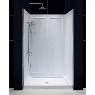 650,DreamLine QWALL-5 36 in. x 48 in. x 76-3/4 in. Standard Fit Shower Kit in White…