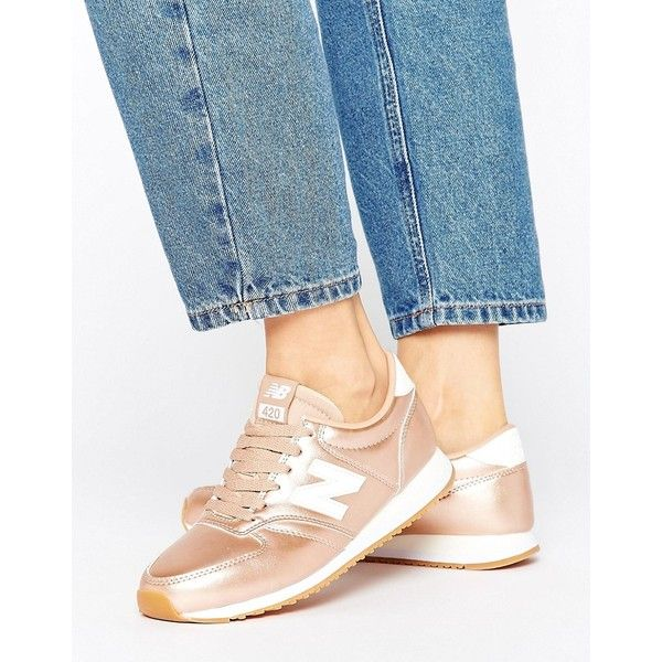 New Balance 420 Trainers In Rose Gold (1.151.530 IDR) ❤ liked on Polyvore featuring shoes, sneakers, gold, new balance shoes, new balance trainers, rose gold trainers, new balance footwear and new balance