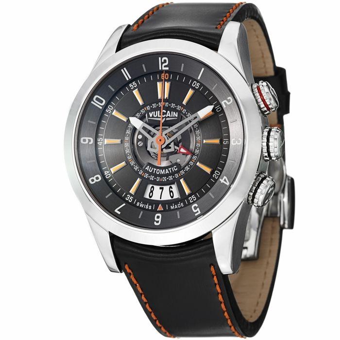 Vulcain Revolution Dual Time Automatic Black Dial Mens Watch 210130.197CF
