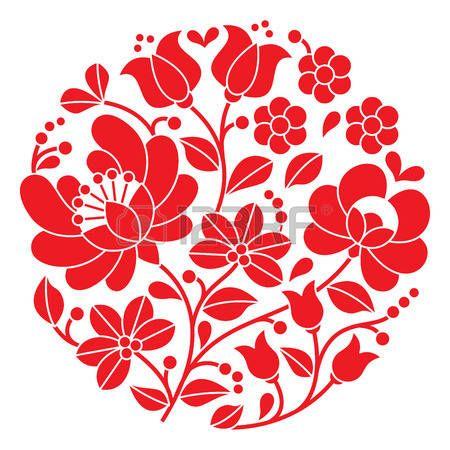 Kalocsai bordado rojo - folk patr�n floral ronda h�ngaro photo