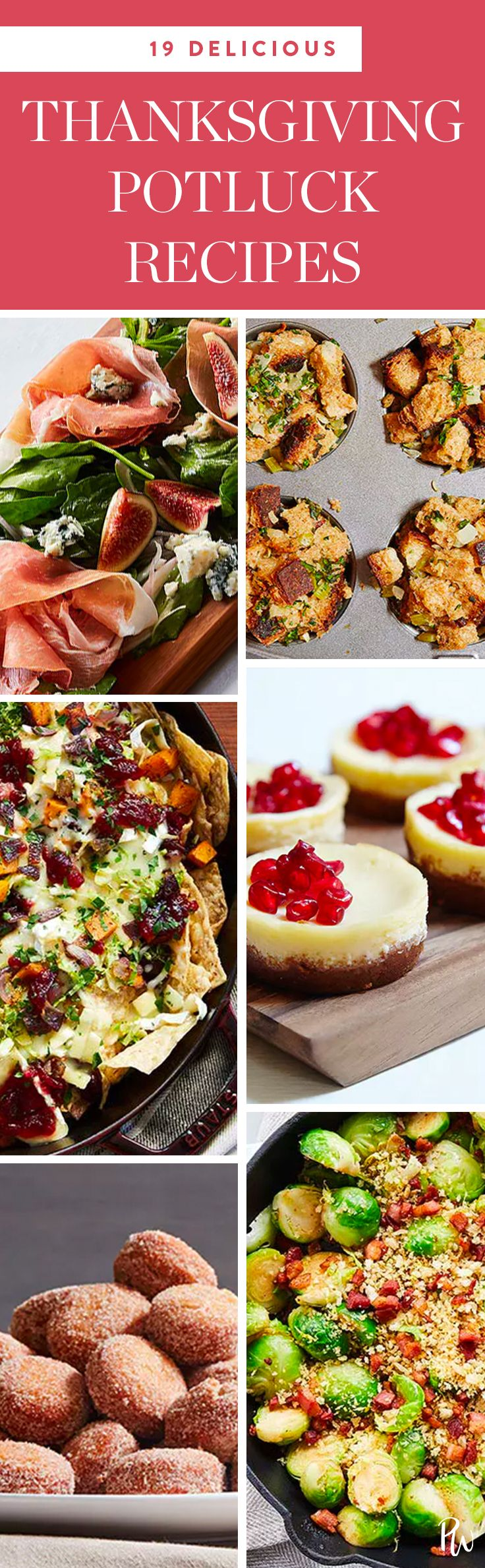 Whether it's a huge family reunion or a low-key Friendsgiving at your neighbor's place, we're willing to bet you're on the guest list for at least one potluck Thanksgiving party this month. Here's exactly what to bring. #thanksgiving #thanksgivingpotluck #thanksgivingrecipes #potluckrecipes