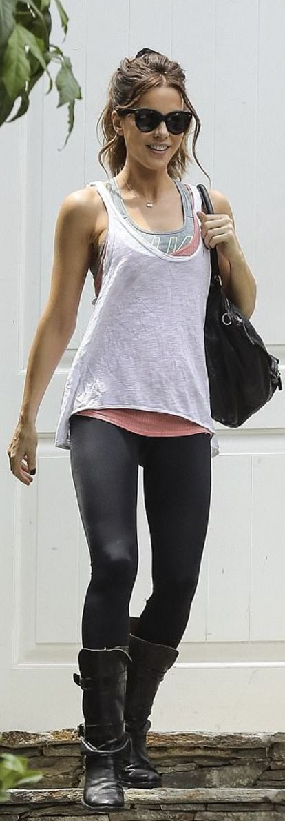 Who made Kate Beckinsale's black sunglasses, handbag, buckle boots, and gray top?