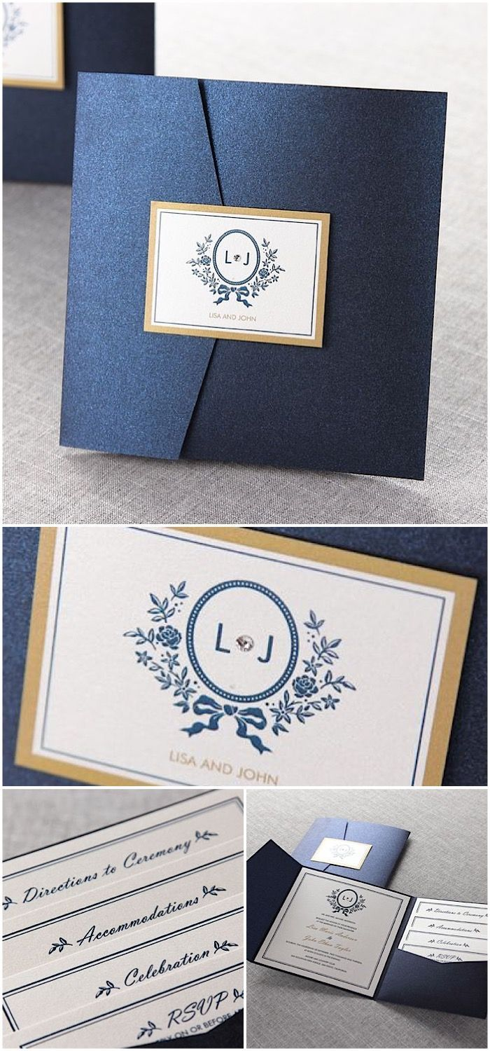 Classic blue wedding invitations with glamorous pocket fold by B Wedding Invitations: