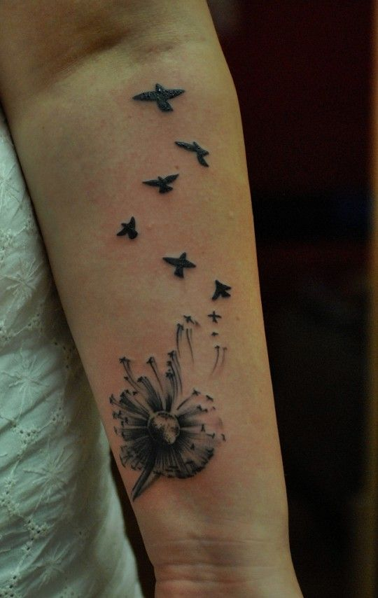 inspirational female tattoos | 13. Women Dandelion Tattoo on Arm