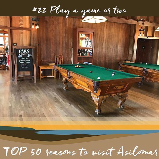 22 - Play a game of pool! Is this a part of your own Asilomar tradition? . . . #asilomartop50 #visitasilomar #monterey #pacificgrove #juliamorgan #pooltable #vacation #getaway #visitca #montereylocals #pacificgrovelocals- posted by Asilomar Conference Grounds https://www.instagram.com/visitasilomar. See more of Pacific Grove, CA at http://pacificgrovelocals.com