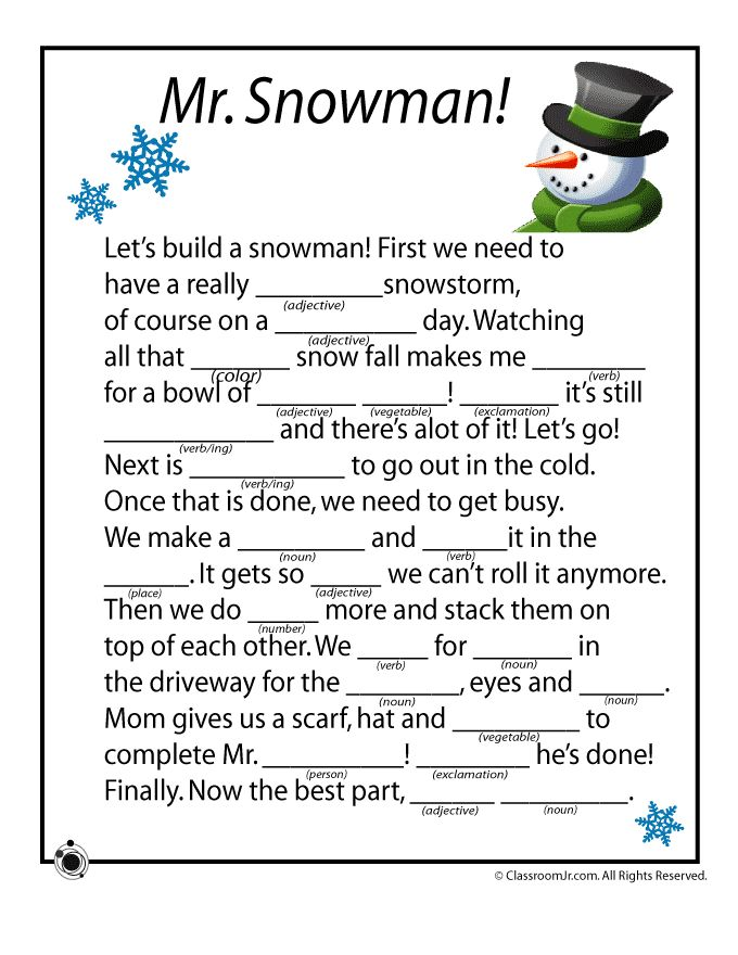 Winter Mad Libs Winter Mad Libs - Mr. Snowman! – Classroom Jr.