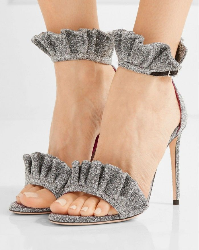 OSCAR TIYE Antoinette ruffle-trimmed textured-lamé sandals | Buy ➜ https://shoespost.com/oscar-tiye-antoinette-ruffle-trimmed-textured-lame-sandals/