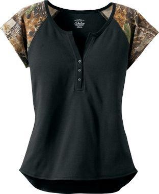 Cabela's: Cabela's Women's Camo Short-Sleeve Henley $14.99