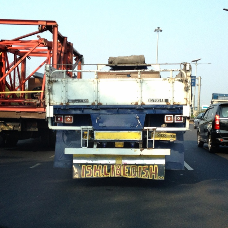 """This is how Indonesian truck driver spelling """"Ich Liebe Dich""""..."""