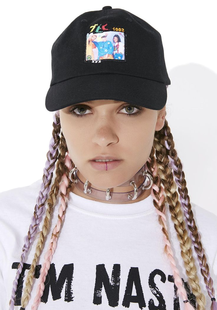 Cross Colours TLC Group Photo Dad Hat we're totally diggin' on ya, babe. This dope dad hat features a black construction, unstructured slouchy fit, TLC band graphic across tha front, and adjustable back strap.