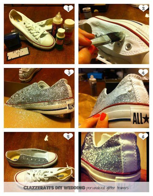 clazzerati: DIY wedding: personalised glitter trainers brillantina Converse. DIY