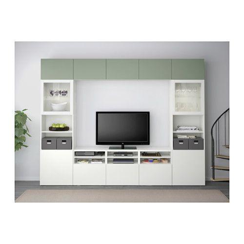 БЕСТО Шкаф для ТВ, комбин/стеклян дверцы - Лаппвикен зеленый/Синдвик белый прозрачное стекло, направляющие ящика, плавно закр - IKEA