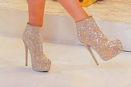 Christian Louboutin Silver Glitter Boots