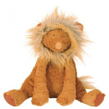 This Moulin Roty lion plush toy has a soft feel, taxtile paws and a bushy multi-colour mane. Cuddle up to this cheerful character for a peaceful sleep.