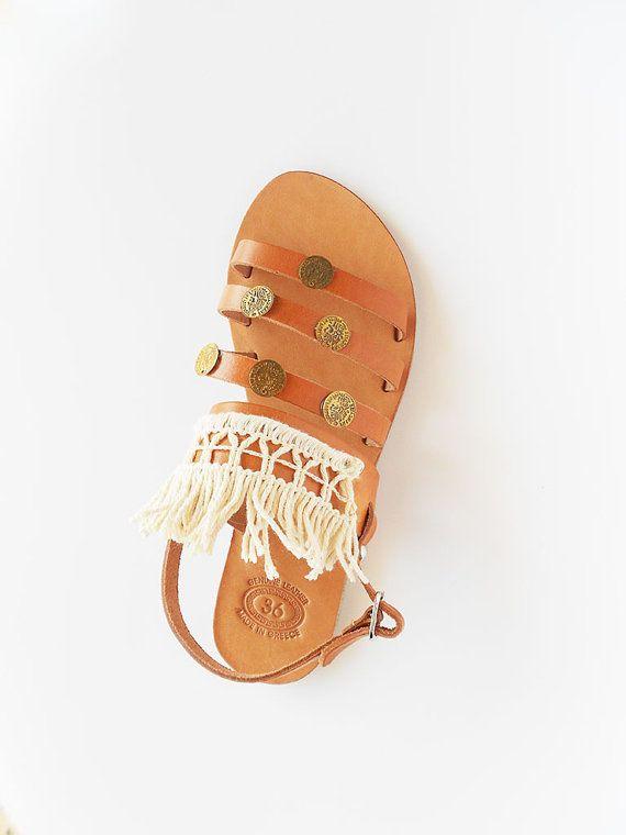 Boho Sandals  Tassel Sandals  Leather Sandals  Ivory by ecreation