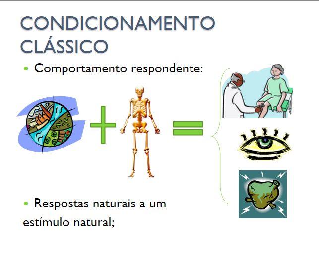 CONDICIONAMENTO CLÁSSICO Comportamento respondente: Respostas naturais a um estímulo natural;