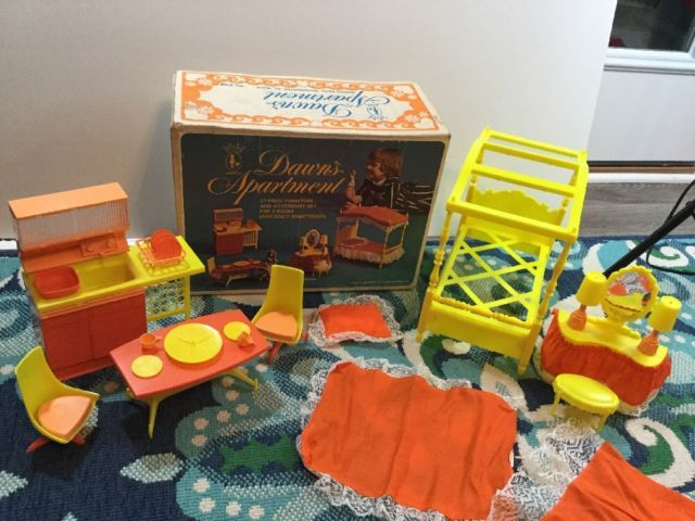 Vintage Dawn Doll Apartment Furniture Set, Kitchen, Dining Room & Bed | eBay