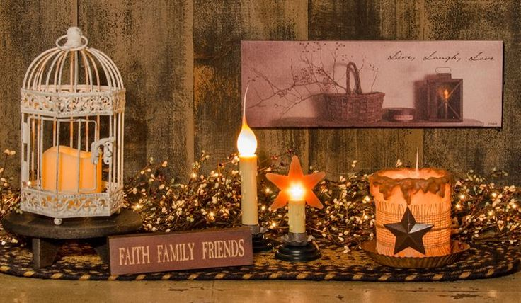 """$ 6.99 KP Creek Gifts - 7"""" Country Candle Lamp 9 ONE BEHIND SIGN) ADD BLACK MINI CHECK LAMPSHADE--it comes with a 7 watt clear bulb. The 5 foot cord has a convenient roll on/off switch. ON PUB TABLE"""
