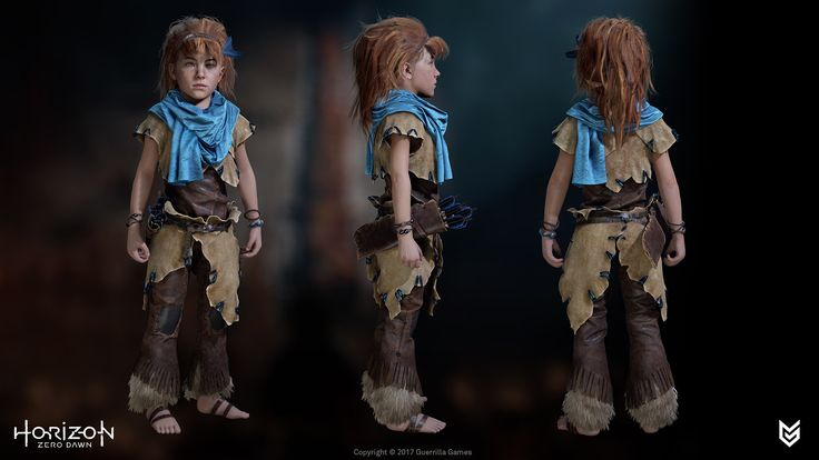 Aloy - Seeker of the Nora Tribe  Aloy was a collaboration between the awesome Guerrilla Games Character Art Team and our external partners.  See renders of the Nora Brave Outfit high poly by Sven Juhlin here: https://www.artstation.com/artwork/QYgDl See renders of the Nora Outcast Outfit & Aloy as Child high poly by Arno Schmitz here: https://www.artstation.com/artwork/5EeR8, https://www.artstation.com/artwork/om0lk See rende...
