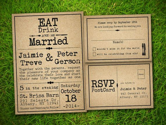 Wedding Invitation and RSVP Card Suite by VintageBellsAndCo, $1.88