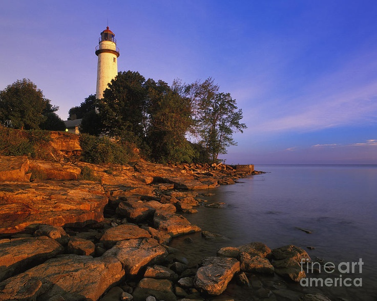 First light at pointe Aux Barques Lighthouse on Lake Huron near Port Hope, MI, USA