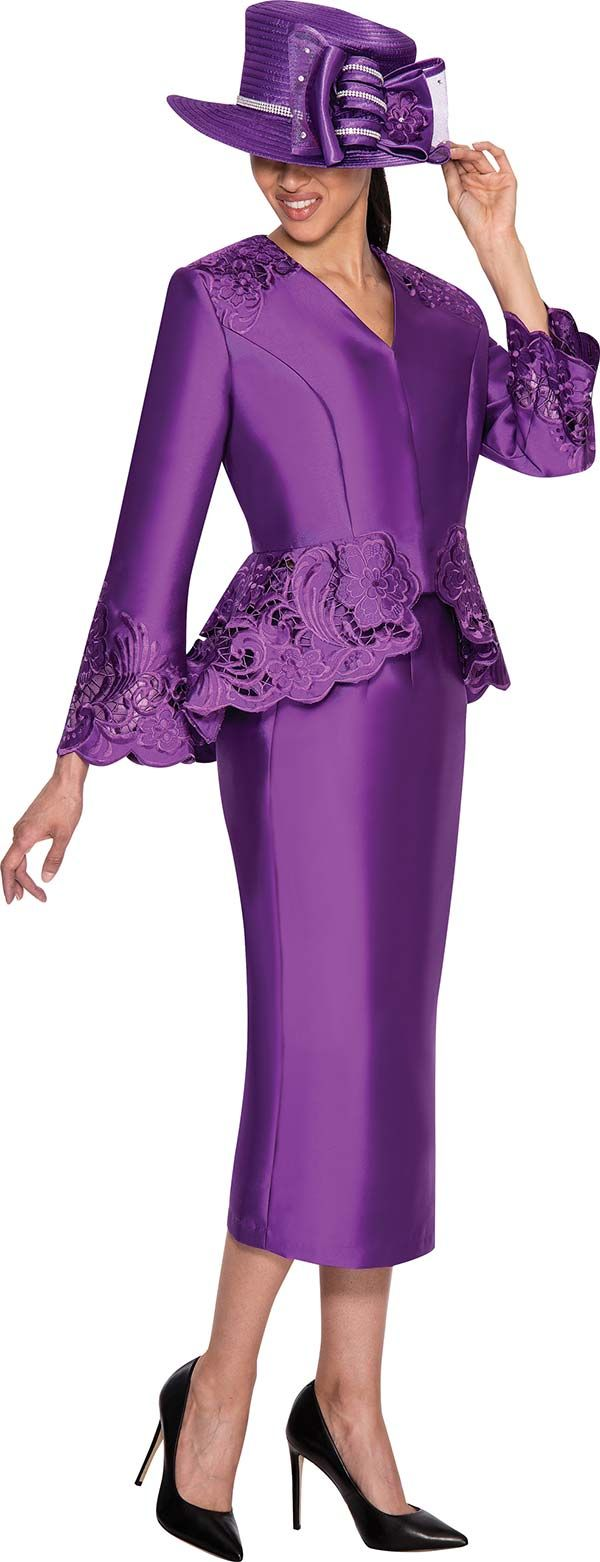 GMI G5232-Purple - Womens Embroidered Jacket Church Suit
