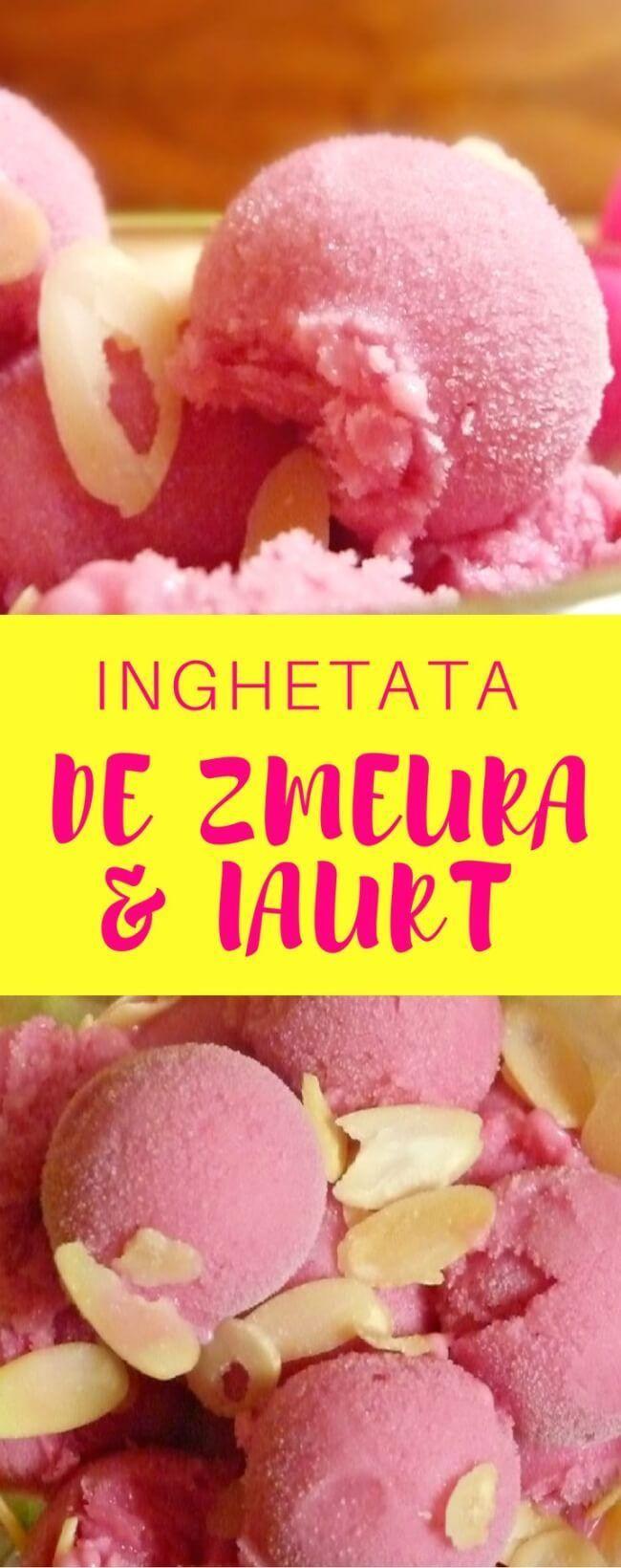 INGHETATA DE ZMEURA SI IAURT GRECESC - Inghetata de zmeura si iaurt grecesc – o gustare delicioasă, răcoritoare și dulce-acrișoară, perfectă pentru zilele fierbinți de vară!