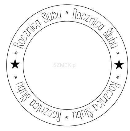 """Stempel gumowy """"rocznica ślubu koło puste"""" 89 Scrapbooking sklep SZMEK.pl Stemple z NAPISAMI"""