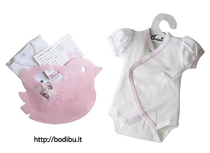 Body Kimono Frac Kibre con borsetta uccellino rosa