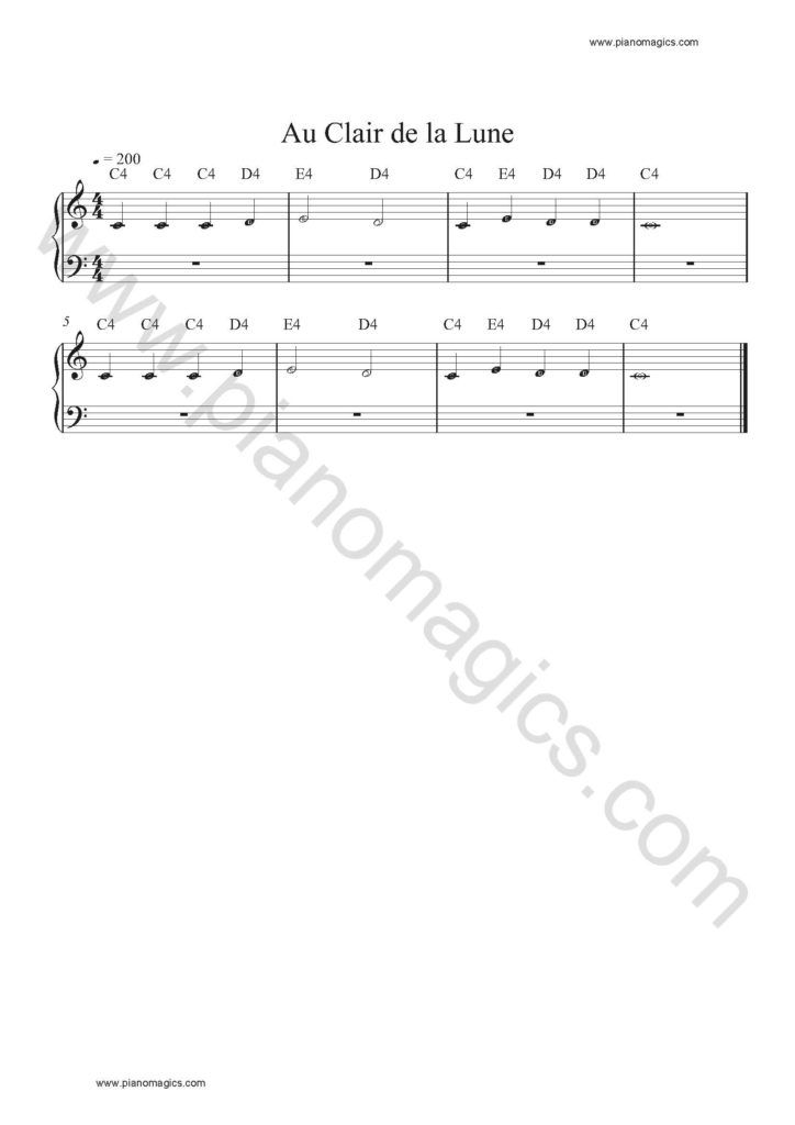 Get Your Au Clair De La Lune Sheet Music For Piano Along With