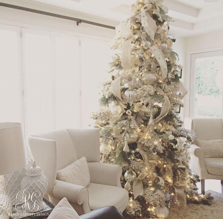 Elegant White Christmas Family Room Details  Christmas Decorating  Christmas White flocked