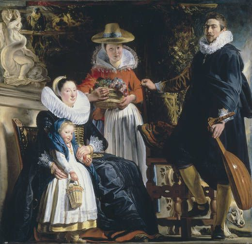 'The Painter's Family' - Author: Jordaens, Jacob - Procedence Colección Real -- The painter stands with his hand on an armchair, holding a lute, a dog at his feet. His wife, Catharina van Noort, sits with her young daughter. The servant holding a basket of grapes, shows the family's prosperity.  The work is in line with the Baroque Flemish artists' interest in dignifying their professional activity, showing themselves to be relevant members of society.