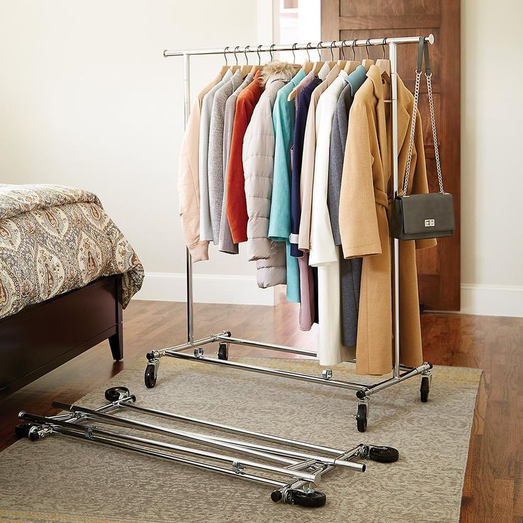 Enjoy free shipping on all purchases over $75 and free in-store pickup on the Chrome Metal Folding Commercial Clothes Rack at The Container Store. If your closet is cramped or you need a place for guest's coats, our Chrome Metal Folding Commercial Clothes Rack fits the bill.  Made from thick, steel tubing, it's truly a commercial-grade rack.  The extra-wide base provides stability and the rugged, heavy-duty casters cross thresholds with ease.  The unit folds compactly for storage. Out...