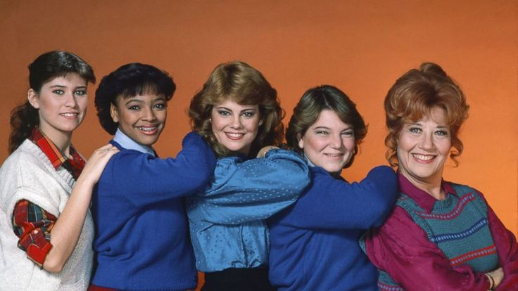 "PHOTO: Nancy McKeon as Jo Polniaczek, Kim Fields as Tootie Ramsey, Lisa Whelchel as Blair Warner, Mindy Cohn as Natalie Green, Charlotte Rae as Edna Garrett are seen in this 1983 cast photo for ""The Facts of Life""."