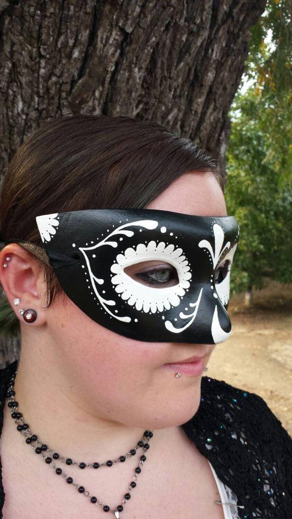 Sugar Skull Reverse Black and White Mask by EquinoxMasquerade