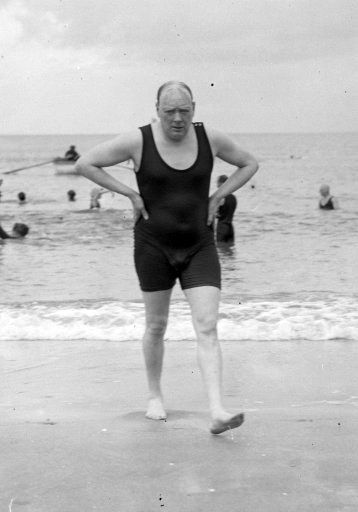 Winston Churchill after bathing in the sea at Deauville, France.