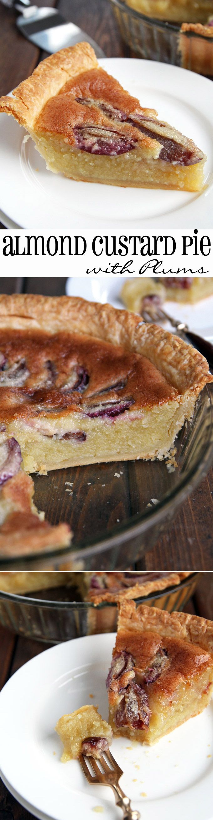 Heavenly Almond Custard Pie with Plums! Also great with different or no fruit.
