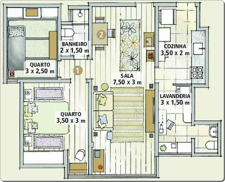 492 best images about home layout floorplan plantas for Apartamentos decorados pequenos