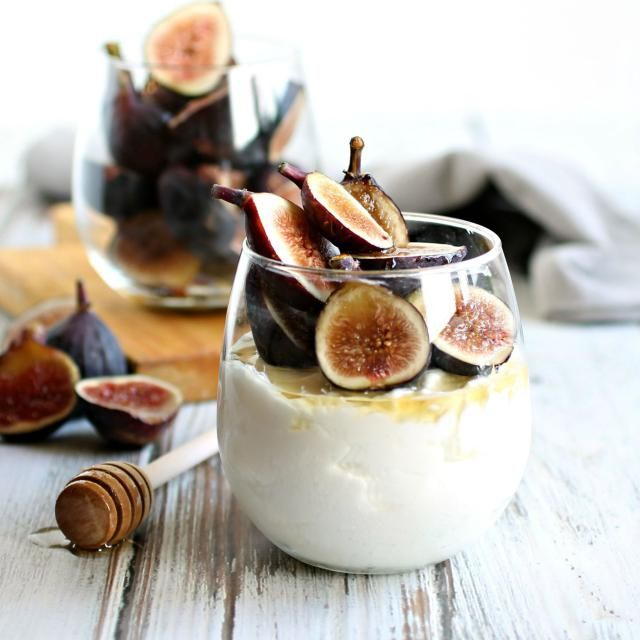 Creamy, light dessert mousse made with Greek yogurt and paired with fresh figs and honey syrup.