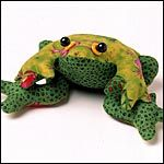 Frog - pattern included, stuffed with beans, about 8 inches, easy enough for a beginner to do!