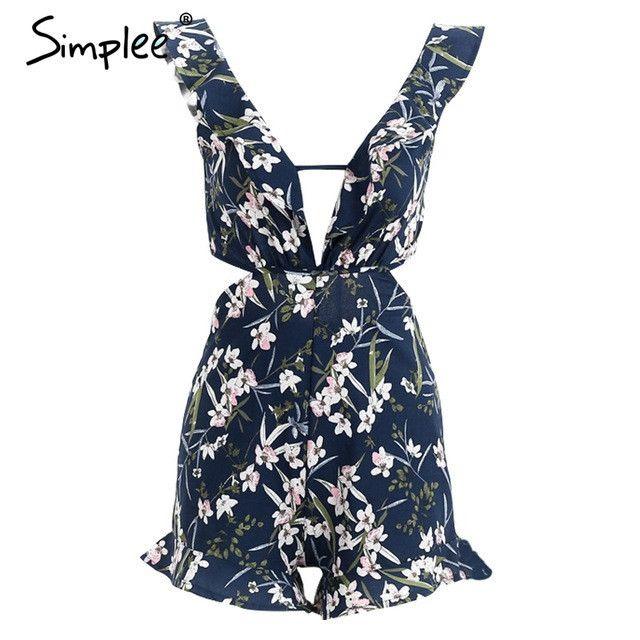 Ruffle Floral Print Backless Jumpsuit V Neck Romper