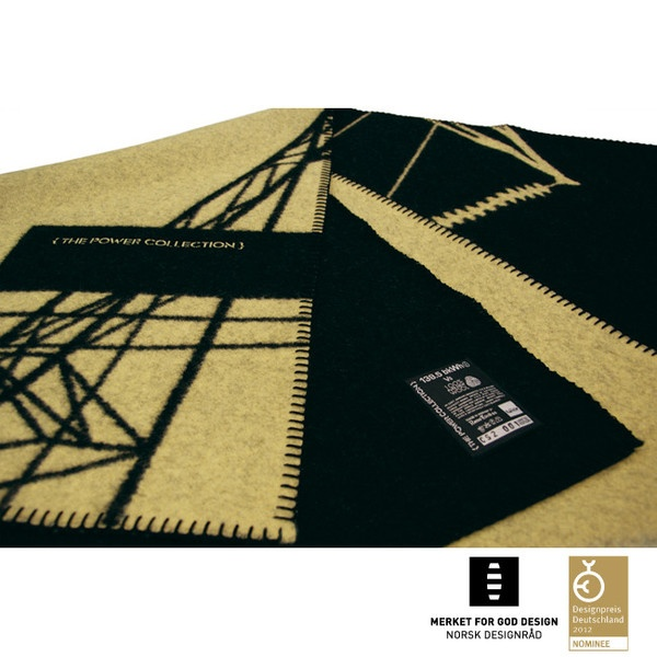 AWARD WINNING BLANKET, 100% Pure New Wool, yellow & black, limited edition, 200 x 130 cm.