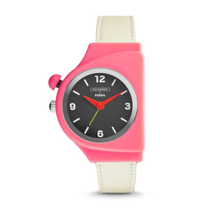 EKW1005 - Eley Kishimoto x Fossil Sweet Reminder Three-Hand Alarm Leather Watch - White