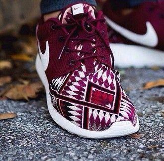 red sneakers nike shoes burgundy aztec mens shoes nike shoes tribal pattern  nike aztec roshe run nike running shoes nike roshe run nike sportswear  roshes ...