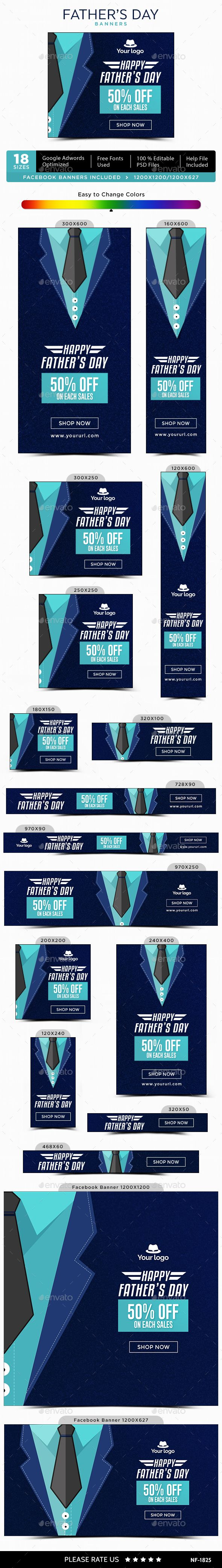 Fathers Day Banners - Image Included - #Banners & Ads #Web Elements Download here: https://graphicriver.net/item/fathers-day-banners-image-included/20122599?ref=alena994