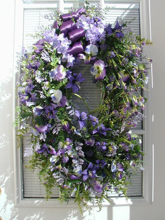 Spring Summer Easter Decor Long Narrow Oval Door Decoration Sweet Peas  Lilies Grapevine Large Spray Purple