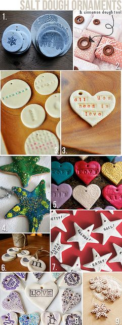 How to make Salt Dough Ornaments- 1/2 cup salt 1/2 cup water 1 cup flour Mix together until dough forms and then knead for 7 - 10 minutes Use cookie cutters or whatever else you want to make your shapes. Make sure you use a straw or pencil to poke a hole in the dough before you bake. Bake the ornaments on an ungreased cookie sheet at 250 degree for 2 hours.